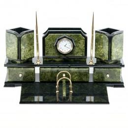 """Настольный письменный набор из камня и бронзы с часами """"Византия"""""""