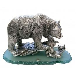 "Статуэтка из серебра Brunel ""Медведица с медвежатами"""