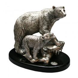 """Серебряная статуэтка """"Полярные медведи"""""""