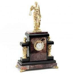 """Каминные часы из камня и бронзы """"Фемида"""" выс.36см"""