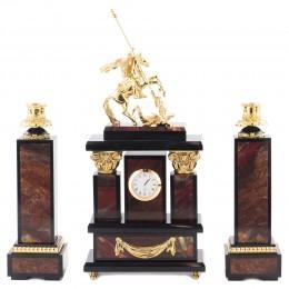 """Каминные часы из камня и бронзы с подсвечниками """"Георгий Победоносец"""" выс.32см"""
