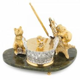 """Медовница """"Два медвежонка"""" из нефрита (Златоустовская гравюра, 22x5x12.5см, вес 3.36кг)"""