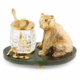 """Медовница из нефрита """"Медведь"""" (Златоустовская гравюра, 20x12x14см, вес 3.62кг)"""