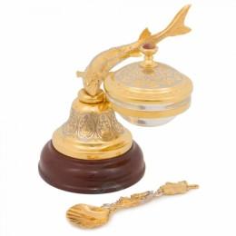 """Икорница """"Колокольчик"""" из яшмы (Златоустовская гравюра, 13.5x13x13см, вес 2.15кг)"""