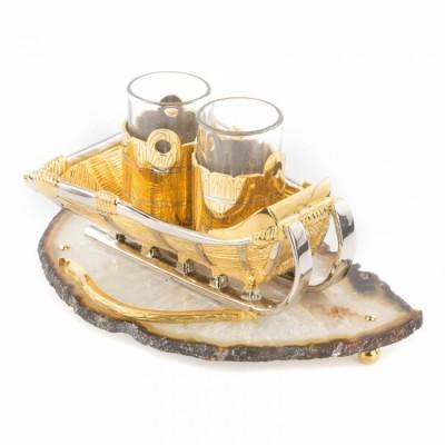 """Набор из стопок """"Сани"""" агат (Златоустовская гравюра, 18x11x9.5см, вес 1.65кг)"""
