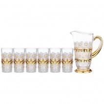 "НАБОР ДЛЯ ВОДЫ/СОКА ""LEFARD GOLD GLASS"" 7ПР.: КУВШИН + 6 СТАКАНОВ 1400/400 МЛ"