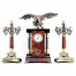 """Каминные часы из камня и бронзы с канделябрами """"Горная птица"""" выс.41см"""