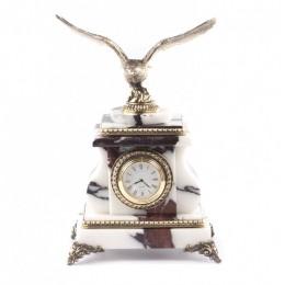 """Каменные часы """"Орел"""" мрамор бронза"""