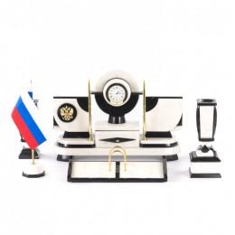 """Настольный набор из мрамора """"Престиж"""" с символикой России"""