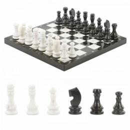 Шахматы из мрамора и змеевика 38x38см