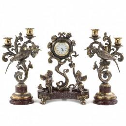 """Каминные часы """"Ангелы"""" с канделябрами из бронзы"""