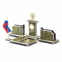 """Настольный набор для директора """"Герб России"""" камень змеевик"""