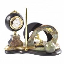 """Письменный набор """"Подкова"""" из камня офиокальцит с шаром антистресс"""