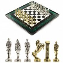 """Подарочные шахматы """"Великая Отечественная война"""" доска 50х50 см из змеевика"""