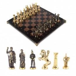 """Подарочные шахматы из бронзы и камня """"Римские войны"""" 44х44 см"""