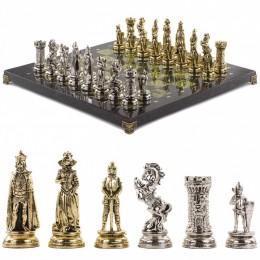"""Подарочные шахматы с металлическими фигурами """"Средневековые рыцари"""" 44х44 см из камня змеевик"""