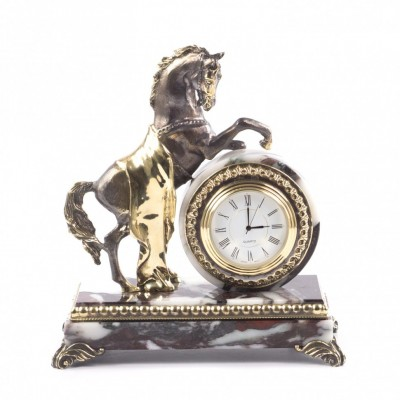 "Часы ""Конь на дыбах"" из бронзы и мрамора"