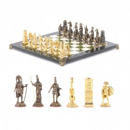 """Шахматы из бронзы """"Спарта"""" доска из камня 40х40 см"""
