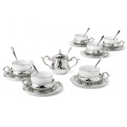 """Чайный набор на 6 персон """"Stradivari"""" с отделкой под серебро в подарочной коробке"""