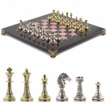 "Шахматы с металлическими фигурами ""Стаунтон"" доска 28х28 см из креноида"