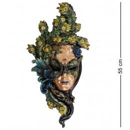 """Венецианская большая маска Veronese """"Павлин"""" (цвет зелёный с чёрным) WS-311"""