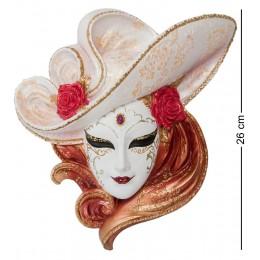 """Венецианская маска Veronese """"Розы"""" (цвет розовый с золотым) WS-346"""