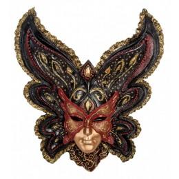 """Венецианская маска Veronese """"Бабочка"""" (цвет чёрный с золотым) WS-358"""