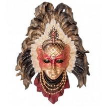 """Венецианская маска Veronese """"Перо павлина"""" (цвет золотой с красным) WS-362"""