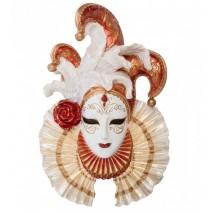 """Венецианская маска Veronese """"Шут"""" (цвет золотой с белым) WS-370"""