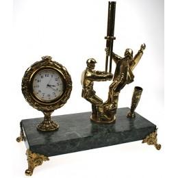 """Настольные часы из бронзы с письменным прибором """"Нефтянники"""" выс.22см"""