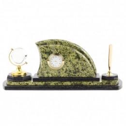 """Настольный письменный набор из камня и бронзы с часами """"Полумесяц"""" дл.30см"""
