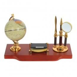 Настольный набор (глобус, ручка, блок д/записей, лупа, нож), L32 W17 H20 см