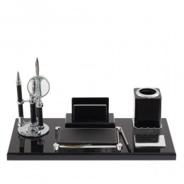 Настольный набор (ручка, лупа, нож д/бумаги, подставка д/телеф, блок д/записей, карандашница), L38 W