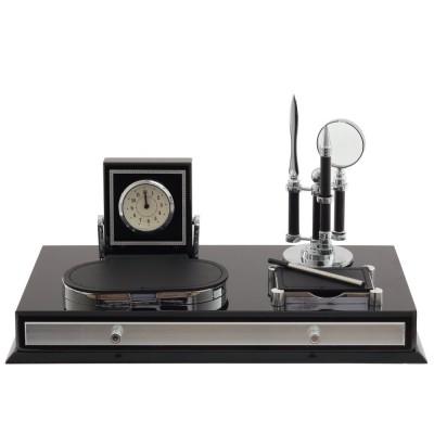 Настольный набор (часы, ручка, лупа, нож д/бумаги, визитница, блок д/записей), L41 W21 H19 см
