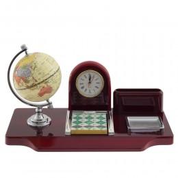 Настольный набор (часы, глобус, визитница, блок д/записей), L35 W18 H21 см