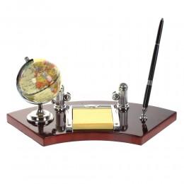 Настольный набор (глобус, ручка, визитница, блок д/записей), L35 W16 H23 см