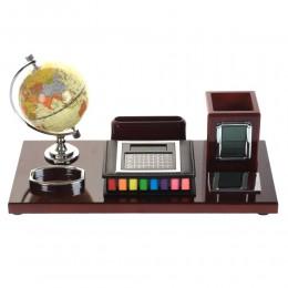 Настольный набор (глобус, визитница, карандашница, калькулятор, часы), L42 W20 H21 см