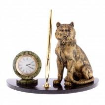 """Письменный набор """"Бенгальский тигр"""" из камня змеевик с металлической ручкой"""
