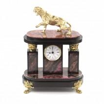 """Декоративные часы """"Саблезубый Тигр"""" из бронзы и родонита"""