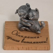 """Фигурка """"Обнимашки - лучшие витаминки!"""" (пёсик обнимается с кошечкой)"""