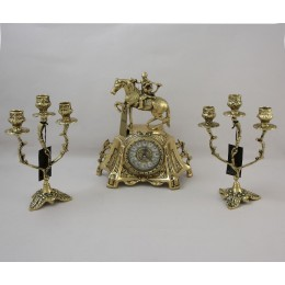 Часы каминные старинные с канделябрами Охотничий
