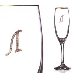 """Бокал для шампанского """"Л"""" с золотой каймой 170 мл."""