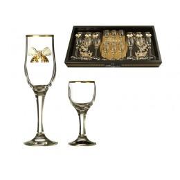 "Наб. На 6 персон 12 пр. ""венеция"" с бантиками: 6 рюмок для водки 50 мл. + 6 бокалов для вина 200 мл"
