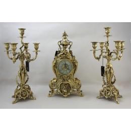 Часы каминные с канделябрами Деметра бронза