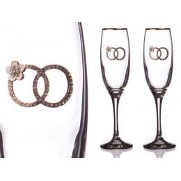 Набор бокалов для шампанского из 2 штук с золотой каймой 170 мл.