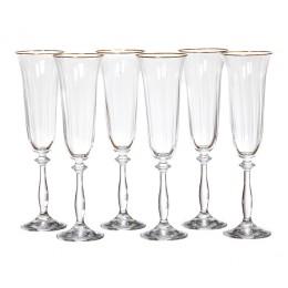 Набор бокалов для шампанского из 6 шт. Анжела оптик 190 мл.