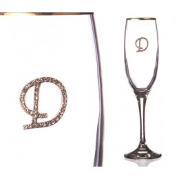 """Бокал для шампанского """"Д"""" с золотой каймой 170 мл."""