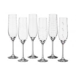 """Набор бокалов для шампанского из 6 шт. """"Виола микс"""" 190 мл. Высота 24 см."""