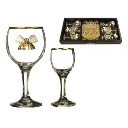 "Наб. На 6 персон 12 пр. ""венеция"" с бантиками: 6 рюмок для водки 50 мл. + 6 бокалов для вина 250 мл"