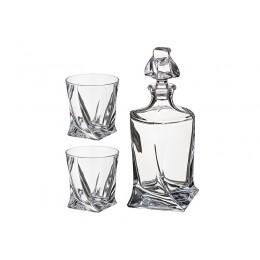 Набор для виски квадро 3пр.: штоф+2 стакана 850/400 мл.высота 27/10 см.